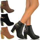 LADIES WOMENS GOLD MID HIGH HEEL CHELSEA ANKLE BOOTS CHUNKY BLOCK PLATFORM SHOES