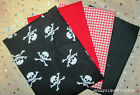 POLYCOTTON  fat quarter bundle PIRATES HALLOWEEN 4 X PIECES SKULL AND CROSSBONE