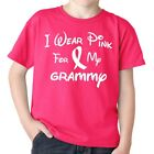 I Wear Pink For My GRAMMY  Breast Cancer Awareness Youth  Boys Girls T Shirt