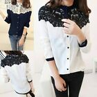 New Women Casual Blouse Tops Chiffon Splicing Lace Long Sleeve Vintage Shirt