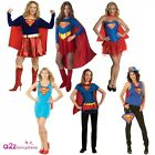 LADIES SUPERGIRL SUPERHERO SUPERHEROES T-SHIRT CAPE FANCY DRESS COSTUME OUTFIT
