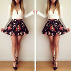 New Women Girl Fashion Sexy Low V Neck Floral Pleated Stretch Bodycon Mini Dress