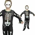 Boys Skeleton Costume PLUS Mask- Childrens Kids Halloween Fancy Dress Outfit