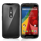 FUSION BUMPER GEL CASE WITH CLEAR BACK COVER FOR MOTOROLA MOTO G 2 2ND GEN