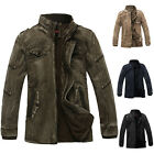 Retro 100% Cotton Winter Warm Men Trench Coat Jackets Military Outdoor Outerwear