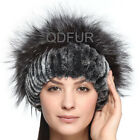Fashion Beret Womens Winter Hats Rex Rabbit Fur Hat Silver Fox Fur Handwoven Top