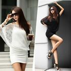 Sexy Women Crochet Knit Cape Sweater Top Blouse Bodycon Club Mini Vest Dress Set