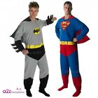 MENS ADULT BATMAN SUPERMAN SUPERHERO ONESIE FANCY DRESS COSTUME UNISEX JUMPSUIT