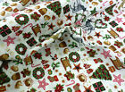 Christmas Reindeer Patchwork Fabric Trees Wreath Squirrels Snowflake 100% Cotton
