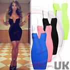 UK Celeb Womens Going Out Clubbing Bodycon Deep Plunge Bustier Bra Low Cut Dress