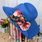 H101 Woman's Fashion Summer Beach Hats Wide Brim One Side With Flowers Hat Straw