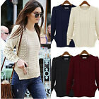best Long Sleeve Knitwear Jumper Cardigan Long Coat Jacket Sweater Wine Red