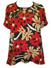 PLUS SIZE Marina Kaneva Retro Floral Dipped Back Tunic Top REDS Size 18 LAST ONE