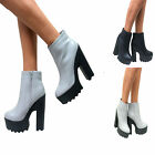 WOMENS CLEATED SOLE CHUNKY HIGH HEEL ZIP UP PLATFORM BOOTS GOTH GEEK SHOES SIZE