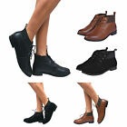 WOMENS LADIES PIXIE VINTAGE WINTER LOW HEEL SHORT FLAT LACE UP ANKLE BOOTS SIZE