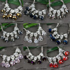 10x Abacus Crystal Glass European Big Hole Spacer Loose Beads Charm Bracelet DIY