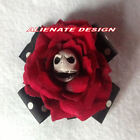 BURLESQUE PUNK 50'S  STEAMPUNK GOTHIC ROCKABILLY   RED ROSE BOW HAIR CLIP...