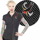 Polka Dot Sparrow Darling Top Retro Pin Up Rockabilly Office Tattoo Office