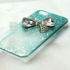 BT Bow Ribbon Turquoise Glitter Bling Hard Skin Case Cover For Samsung iPhone