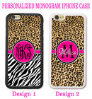 PERSONALIZED HOT PINK CHEETAH ZEBRA MONOGRAM CASE FOR IPHONE