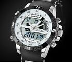 Luxury Mens Date Digital Dual Time Zones Quartz Sport Wrist Watch Chronograph FI