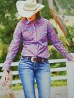 New Wrangler Purple  Check Western Campdrafting Pamela Shirt