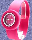 New PNP Shiny Silver Watchcase Silicone Magenta Band Women Fashion Watch FW731L