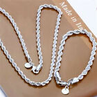 925 sterling solid silver 4mm Twisted rope necklace & bracelet 16-24inch