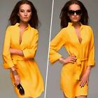 Fashion Women Deep V-Neck Chiffon Novelty Work Cocktail Party Shirt Dress Belt