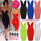 UK Women Celeb Sexy V Neck Bare Back Club Strapless Bodycon Party Evening Dress
