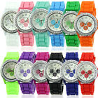 New Women Girl Lady Geneva Silicone Crystal Stone Quartz Jelly Wrist Watch