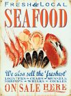 New On Sale Here Fresh & Local Seafood Tin Sign