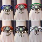 Retro Quartz Analog Leather Wrap Bracelet Weave Wrist Watch Angel Heart Clock it
