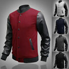 Men 2015 WINTER JACKET PU Leather Sleeve Coat Collar Baseball Stitching Overcoat
