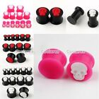 Pick Gauge Punk Cameo Skull Solid Silicone Double Flared Ear Plugs Stretcher