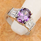 UNIQUE PURPLE AMETHYST 8*10mm GEMSTONES SILVER RING Size_Select T6736