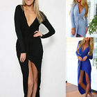 U Sexy Plunge Deep V Neck Twisted High Low Asymmetric Pencil Long Dress Clubwear