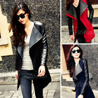 New Fashion Women's PU Leather Sleeve Slim Fit Coat Jacket Parka Trench Overcoat