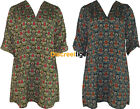 New Kaftan Shirt Style Shift Dress Top 14,16,18,20 Baroque Pattern 3/4 Sleeve