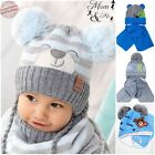 Kids Baby Boys Hat With Scarf Knitted Autumn Winter Cap with Scarf Tie up