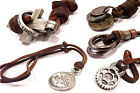 Mens Leather Necklace Surfer Choker Chunky Design Rock Punk Star Gift New