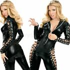 Body Slim Sexy Catwomen Catsuit Jumpsuit with Hollow out the Sleeve and Trouser