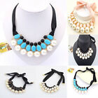 Fashion Woman Luxury Sweet Pearl Ribbon Bib Choker Statement Collar Necklace Hot