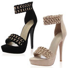 NEW WOMENS OPEN TOE ZIP UP LADIES CHAIN ANKLE STRAP HIGH STILETTO HEEL SIZE 3-8