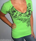 New INFAMOUS Deep V Neck NEON GREEN Top WINGED SKULL Shirt Large L