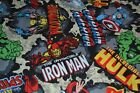 MARVEL COMICS CHARACTER SUPERHEROS SPIDER MAN HULK FABRIC BLUE FAT QUARTERS