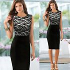 2015 Women Ladies Geometric Print Lace Summer Casual Evening Party Bodycon Dress