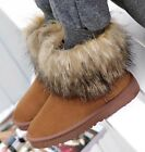 Womens Ladies Fashion Winter Warm Faux Fur Pull On Snug Snow Boots Shoes A-3