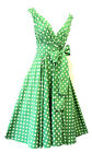 Vintage 1950s Style Green and White Polka Dot Summer Swing Dress UK 8-18""