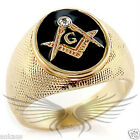 Men's Masonic Freemason Gold Plated Ring Top Grade Crystal Accented 414705